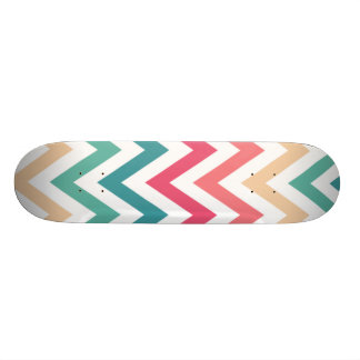 Geometric Designs Color Cyan, Peach and Soft Reds Skate Board Decks