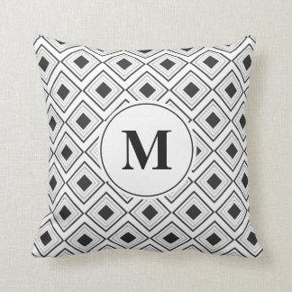 Geometric Diamond Black and White Monogram | Cushion