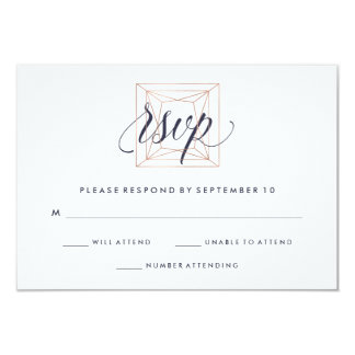 Geometric Diamond Wedding RSVP Midnight Blue Text 9 Cm X 13 Cm Invitation Card
