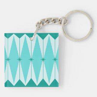 Geometric Diamonds & Starbursts Square Keychain