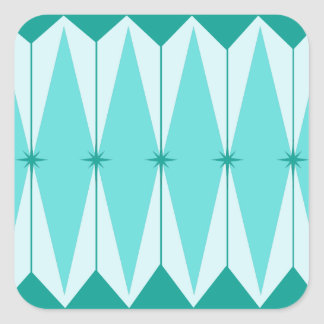 Geometric Diamonds & Starbursts Square Stickers