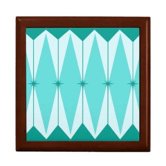 Geometric Diamonds & Starbursts Wooden Jewelry Box
