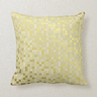 Geometric Digital Squares Mustard Ivory Gold Grill Throw Pillow