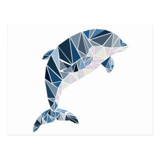 Geometric dolphin postcard