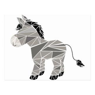 Geometric donkey postcard