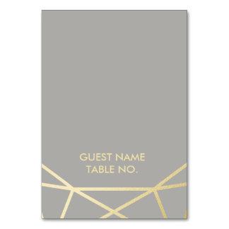 Geometric | Dove Grey and Gold Wedding Escort Card