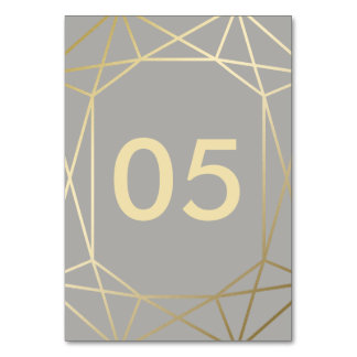 Geometric | Dove Grey and Gold Wedding Table Cards