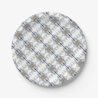 Geometric drawing on white background paper plate