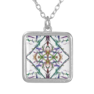 Geometric drawing on white background silver plated necklace