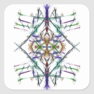 Geometric drawing on white background square sticker
