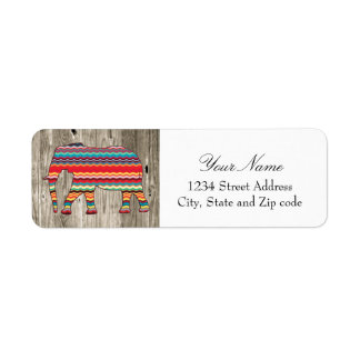 Geometric Elephant on Wood Design Return Address Label