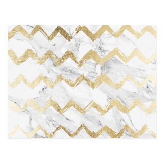 Geometric faux gold chevron handdrawn white marble postcard