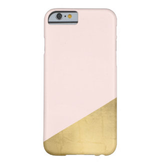 Geometric Faux Gold Foil and Pink Color Block Barely There iPhone 6 Case