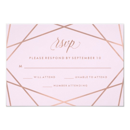 Geometric Faux Rose Gold and Pink Wedding RSVP