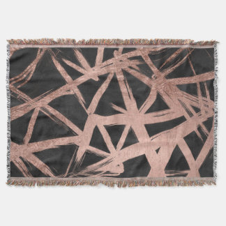 Geometric faux rose gold brushstrokes triangles throw blanket