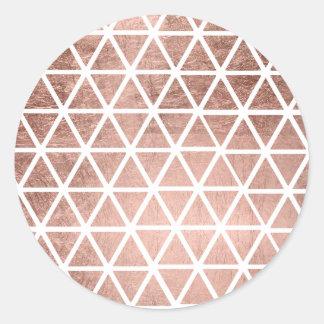 Geometric faux rose gold foil triangles pattern classic round sticker