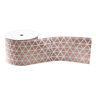 Geometric faux rose gold foil triangles pattern grosgrain ribbon