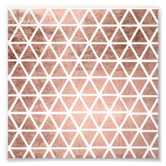 Geometric faux rose gold foil triangles pattern photo print