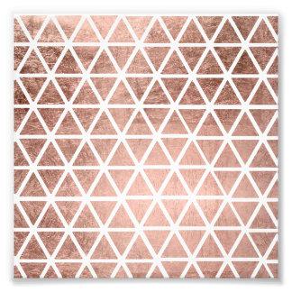 Geometric faux rose gold foil triangles pattern photo print