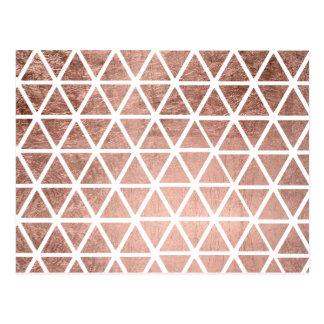 Geometric faux rose gold foil triangles pattern postcard