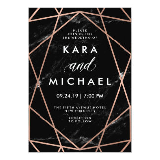 Geometric Faux Rose Gold on Black Marble Wedding Card