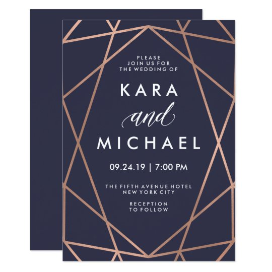Geometric Faux Rose Gold on Midnight Blue Wedding