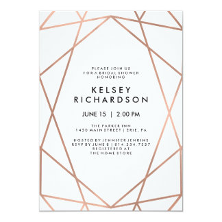 Geometric Faux Rose Gold on White Bridal Shower Card