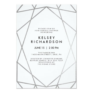 Geometric Faux Silver on White Bridal Shower Card