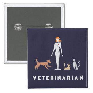 Geometric Female Veterinarian 15 Cm Square Badge