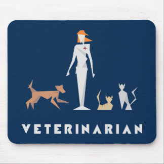 Geometric Female Veterinarian Mouse Mat