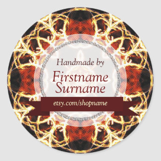 Geometric Fire Handmade by Label Sticker