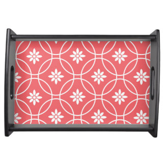 Geometric Floral Pattern | Coral White Serving Tray