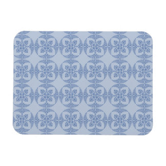 Geometric Floral Pattern in Light Blue Rectangular Photo Magnet