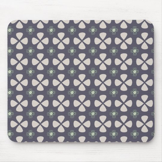 Geometric floral pattern with lucky clovers mouse mat