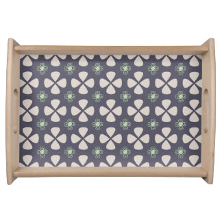 Geometric floral pattern with lucky clovers serving tray