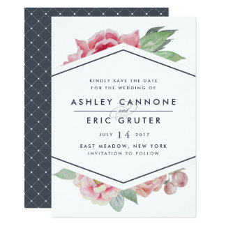 Geometric Floral Save the Date Card