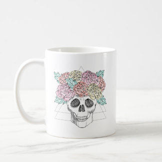 Geometric Floral Skull Coffee Mug