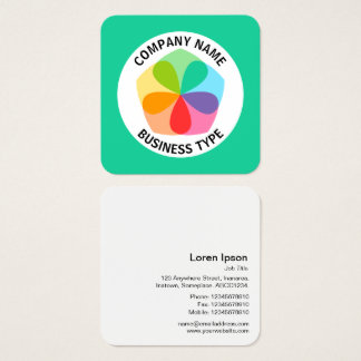 Geometric Flower - Green #19CD99 Square Business Card