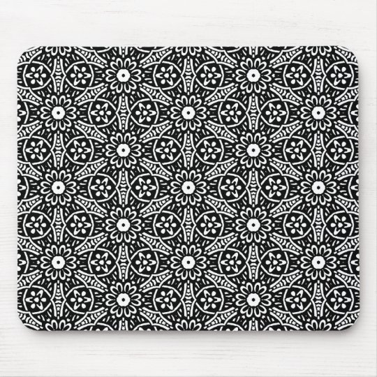 Geometric Flower Pattern Mouse Pad
