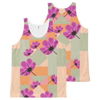 Geometric Flowers All-Over Print Tank Top