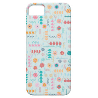 Geometric Flowers Pattern Design - Turquoise iPhone 5 Cover
