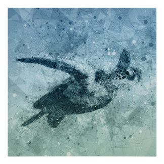 Geometric Flying Green Sea Turtle | Poster