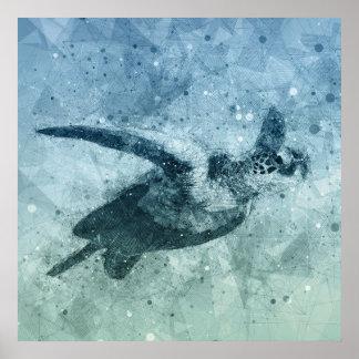 Geometric Flying Green Sea Turtle   Poster