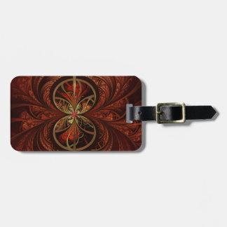 Geometric Fractal Art Brown Red Tones, Luggage Tag