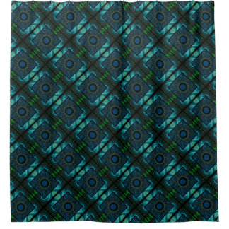 Geometric & Fractal Blue & Green Design Shower Curtain