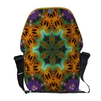 Geometric Fractals Gold Purple Messenger Bag