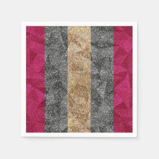 Geometric Glitter Stripes Napkins Disposable Napkin