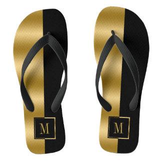 Geometric Gold & Black Stripe Monogram Flip Flops