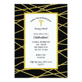 Geometric Gold neutral gender Nurse graduation Card