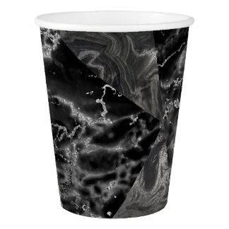Geometric Gray White Graphite Black Marble Paper Cup